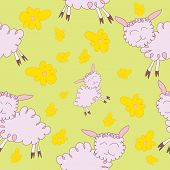 Seamless Pattern With Cartoony Sheeps