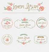 stock photo of ribbon  - Flowers design elements - JPG