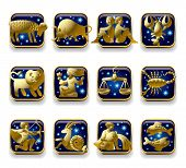 Isolated raster version of vector set of dark blue icons with gold zodiacal signs with figure, symbo