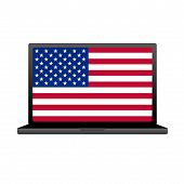 Laptop With Flag Of Usa