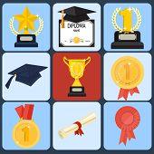 award icon set, flat ilustration