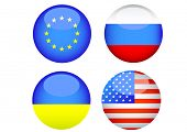 Silhouettes of button with flags of Ukraine and Russia