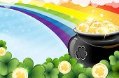 stock photo of pot gold  - Rainbow and pot with gold coins on abstract spring background - JPG