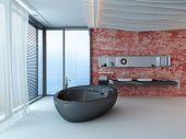 Fancy bathroom interior with red wall and black bathtub