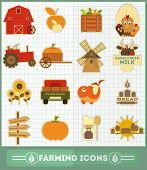 picture of dairy barn  - Farming and Agriculture Icons Set - JPG