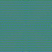 Blue circle pattern on green and white lined background, an abstract hypnotizing illusion