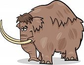 stock photo of mammoth  - Cartoon Illustration of Funny Prehistoric Mammoth or Mastodon - JPG