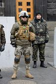 KIEV, UKRAINE - February 27, 2014: Ukrainian revolution. Euromaidan fighters protect the building of the Council of Ministers
