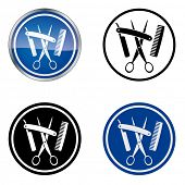 Hairdresser and Barber - Traditional Craftsmen's Guild Vector Symbol, four variations. Version with