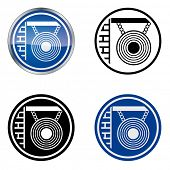 Hairdresser and Barber - Traditional Craftsmen's Guild Vector Symbol, four variations. Version with Mirror.