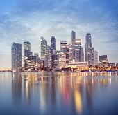 stock photo of hsbc  - Night view of Singapore - JPG
