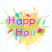Indian festival Happy Holi celebrations concept with stylish colourful text on splash background.