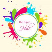 Indian festival Happy Holi celebrations sticker, tag or label on beautiful colourful floral decorated background.