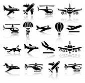 stock photo of propeller plane  - Set of aircrafts black icons - JPG