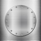 Grey Metal Grid And Circle Plate