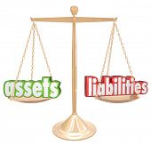 Assets Vs Liabilities Net Worth Gold Scale Financial Value