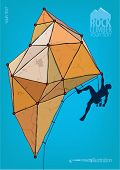 Rock climber. Template for design poster