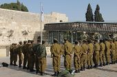 Soldiers of Israel defense force arrived at the Western Wall. Briefing before the praye