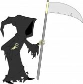 Dark cloaked image of faceless grim reaper holding sickle