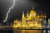 Parliament With Lightning