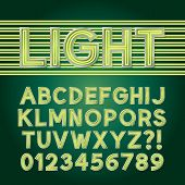Green Parallel Neon Light Alphabet