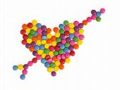 Heart With Arrow Made Of Colored Smarties
