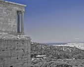 Athena Nike (victory) ancient temple over Athens cityscape