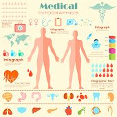 illustration of Healthcare and Medical Infographics with male and female anatomy