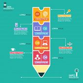 Creative infographics Template with pencil, puzzle and education icons. Abstract infographic Design Minimal style. Graphic or website layout vector.