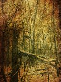 foto of manila paper  - Vintage grunge yellow paper texture with winter bare trees landscape - JPG