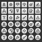 Gray icons set repair construction