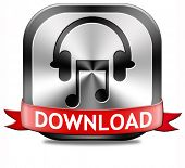 Music download button play and to listen live stream or for downloading mp3 song