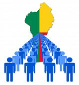Lines of people with Benin map flag vector illustration