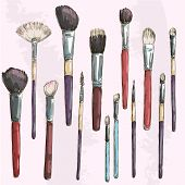 Make up brushes collection. Fashion illustration.