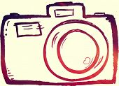 hand drawn doodle digital camera illustration with instagram effect
