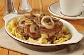 foto of sauteed  - Salisbury steak with sauteed mushrooms and onions on noodles - JPG