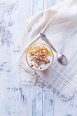Yogurt with Peach Jam, Walnuts and Rye Flakes