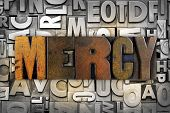 stock photo of synagogue  - The word MERCY written in vintage letterpress type - JPG