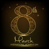 International Happy Women's Day celebration concept with stylish golden text 8th March on shiny brown background.