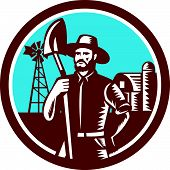 foto of farmhouse  - Illustration of organic farmer holding shovel with windmill and barn farmhouse in background set inside circle done in retro woodcut style - JPG