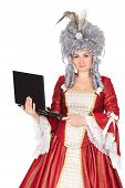 Woman In Queen Dress With Laptop