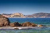 Calvi Citadel Taken From Plage De Petra Muna, Corsica