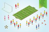foto of isometric  - Illustration of an Isometric detail Football players in stadium - JPG