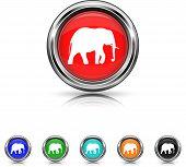 Elephant Icon - Six Colors Vector Set