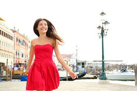 picture of vivacious  - Woman happy running in summer dress - JPG