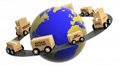 Earth circled by highway with boxes on wheels isolated
