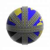 Planet Earth circled by net of roads isolated on white
