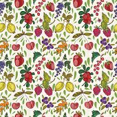 Colorful Berries Vector Seamless Pattern. Raspberry, Bilberry, Cherry,cowberry,black Currant, Strawb