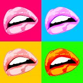Lips sex pink vector icon women