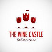 Abstract Wine Glass Castle Vector Concept Symbol Icon